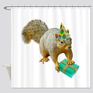 Birthday Squirrel Shower Curtain