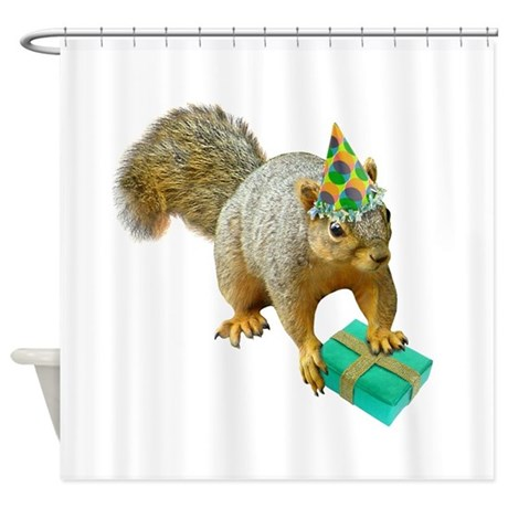 Birthday Squirrel Shower Curtain By Catsclips