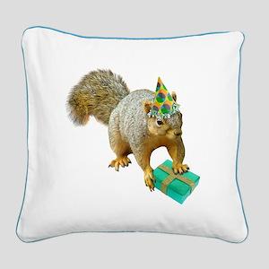 Birthday Squirrel Square Canvas Pillow