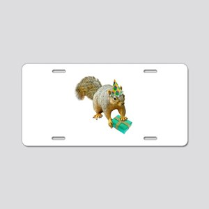 Birthday Squirrel Aluminum License Plate