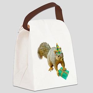Birthday Squirrel Canvas Lunch Bag
