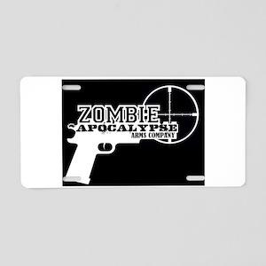 Pistol Logo W on B Aluminum License Plate