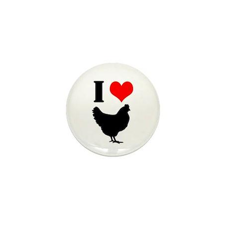 I Heart My Chickens Mini Button