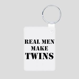 Real Men Make Twins Aluminum Photo Keychain