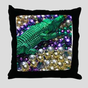 Mardi Gras Alligator Beads Throw Pillow