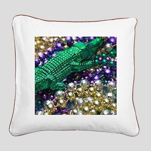 Mardi Gras Alligator Beads Square Canvas Pillow