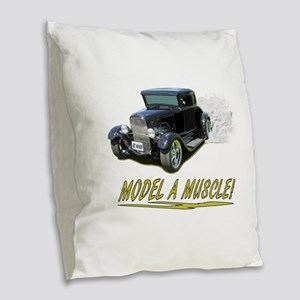 Model A Muscle! Burlap Throw Pillow