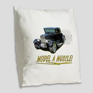 Model A Muscle! Burlap Throw Pillow