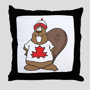 Goofy Canadian Beaver in Shirt Throw Pillow