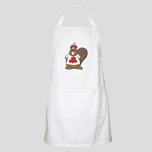 Goofy Canadian Beaver in Shirt BBQ Apron