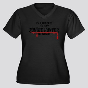 Zombie Hunte Women's Plus Size V-Neck Dark T-Shirt