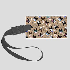 Boston Terrier Cute Mustache Fun Large Luggage Tag