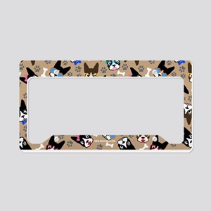 Boston Terrier Cute Mustache License Plate Holder