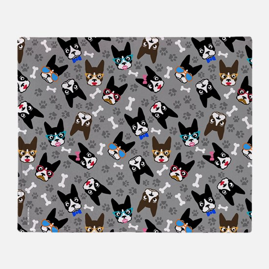 cute boston terrier dog Throw Blanket
