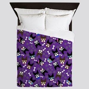cute boston terrier dog Queen Duvet
