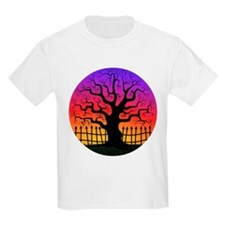 Halloween Spooky Tree at Sunset Kids T-Shirt