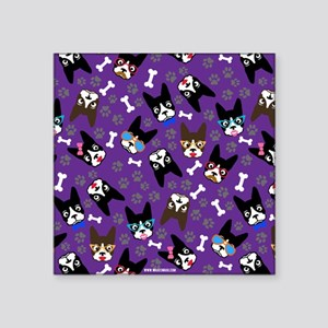 """cute boston terrier dog Square Sticker 3"""" x 3"""""""