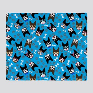 cute boston terrier dog Throw Blanket