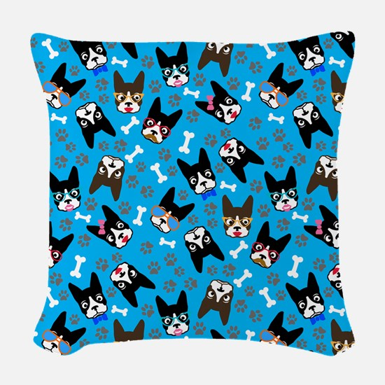 cute boston terrier dog Woven Throw Pillow