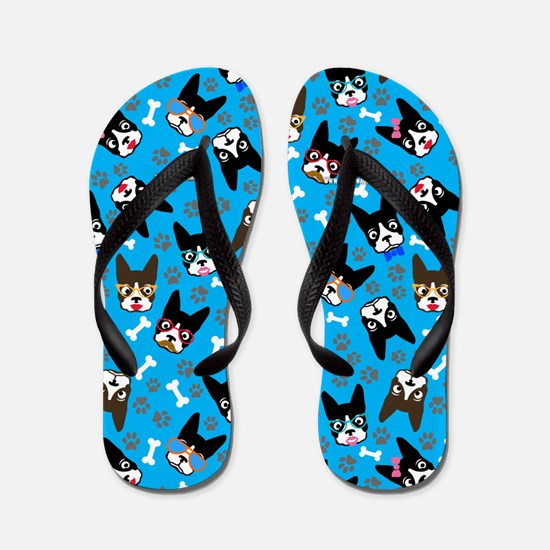 cute boston terrier dog Flip Flops