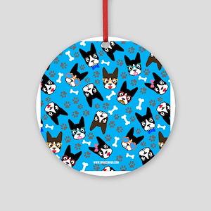 cute boston terrier dog Ornament (Round)
