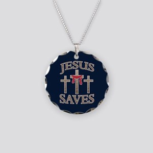 Jesus Saves Necklace Circle Charm