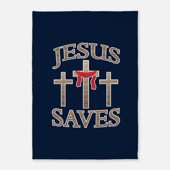 Jesus Saves 5'x7'Area Rug
