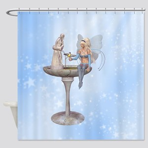 Fairy at the fountain Shower Curtain