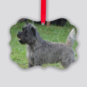 Cute Black Cairn Terrier Picture Ornament