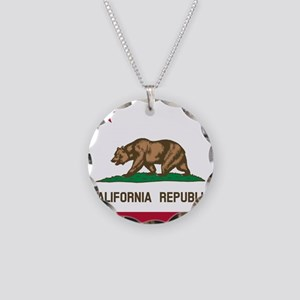 Flag of California Necklace Circle Charm