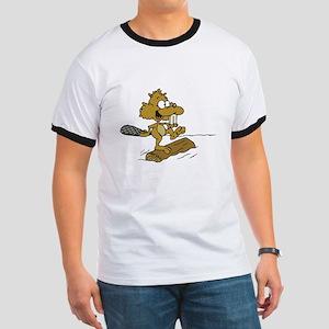 Goofy Logrolling Beaver Ringer T