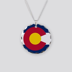 Flag of Colorado Necklace Circle Charm