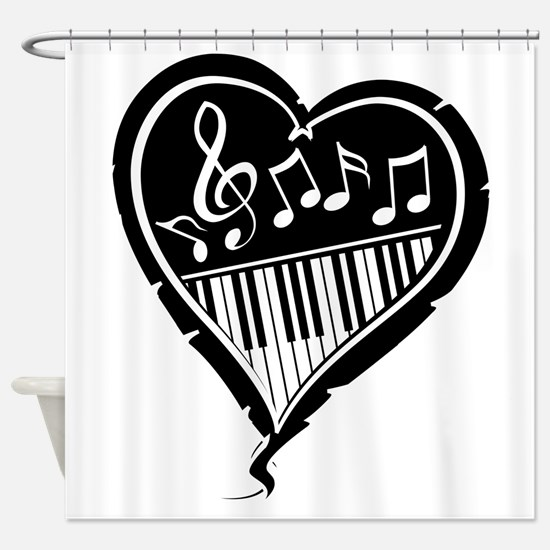 Stylish Black and white musical heart with piano k