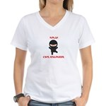 Ninja Civil Engineer Women's V-Neck T-Shirt