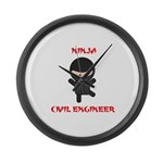 Ninja Civil Engineer Large Wall Clock