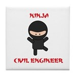 Ninja Civil Engineer Tile Coaster