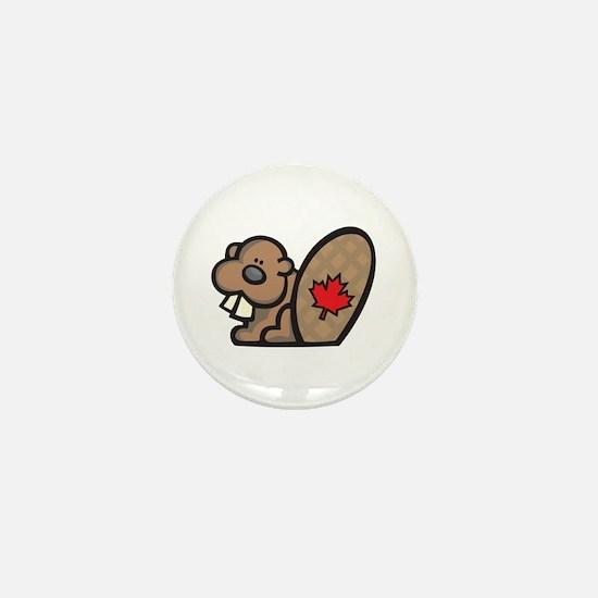Cute Canadian Beaver Mini Button