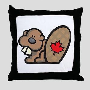Cute Canadian Beaver Throw Pillow