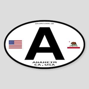California Euro Oval Sticker - Anaheim