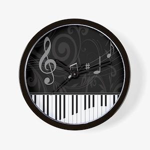 Whimsical Piano and musical notes Wall Clock