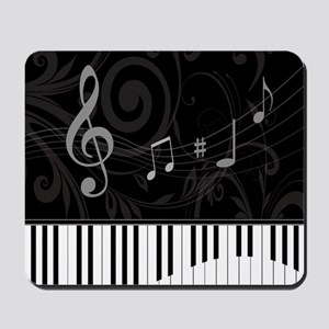 Whimsical Piano and musical notes Mousepad