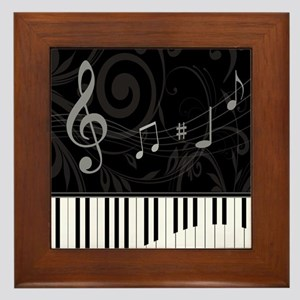 Whimsical Piano and musical notes Framed Tile