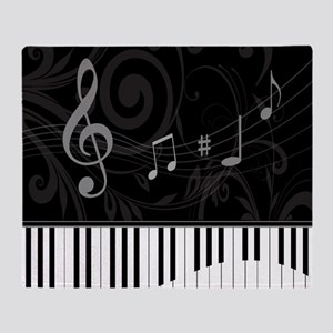 Whimsical Piano and musical notes Throw Blanket