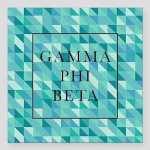 "Gamma Phi Beta Geometric Square Car Magnet 3"" x 3"""