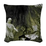 Daniel And The Lions Den Woven Throw Pillow