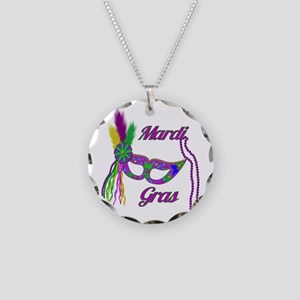 Mardi Gras Beads Mask Necklace Circle Charm