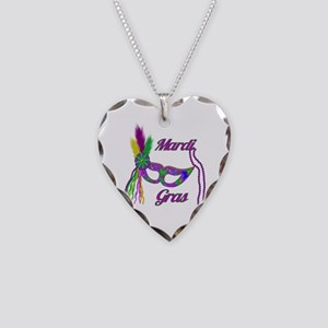 Mardi Gras Beads Mask Necklace Heart Charm