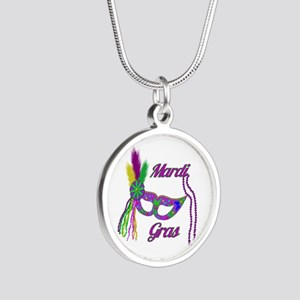 Mardi Gras Beads Mask Silver Round Necklace