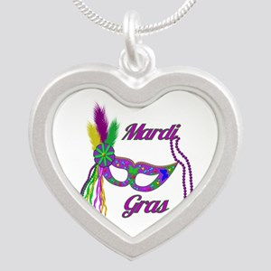 Mardi Gras Beads Mask Silver Heart Necklace