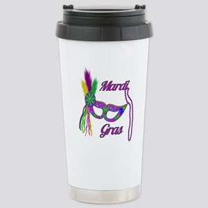 Mardi Gras Beads Mask Stainless Steel Travel Mug